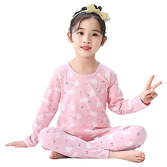 Children's Thermal Suit Cotton Girl's Warm Cute Pink Pajamas