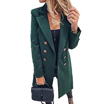 kvinner uformell frakk grøft jakke lang blazer duster jakke dress outwear