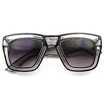 مصمم أزياء مستوحاة كبير القرن شفافة جريئة انعقدت نمط النظارات الشمسية
