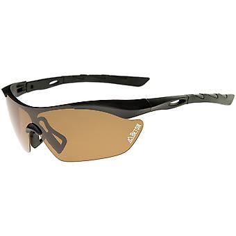 Nepal - Polarized Shatterproof Lens Half-Frame Sports Shield Sunglasses 80mm