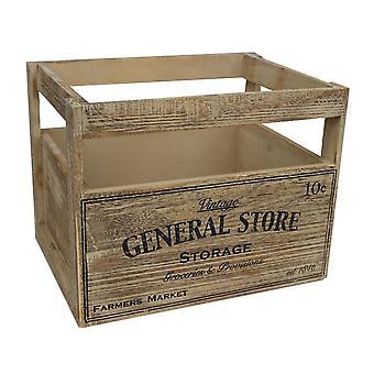 Medum paniers de rangement en bois avec l'impression de magasin général