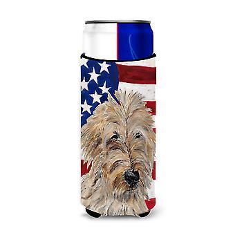 Dourado 2 Doodle com americano bandeira EUA Ultra bebidas isoladores para latas magro