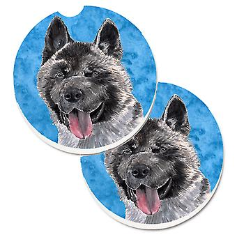 Carolines Treasures  SC9508BUCARC Blue Akita Set of 2 Cup Holder Car Coasters