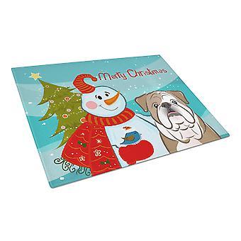 Snowman with English Bulldog  Glass Cutting Board Large