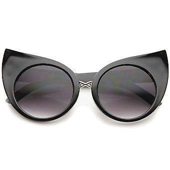 Vrouwenmode overdreven gebogen ronde Cat Eye zonnebril 51mm