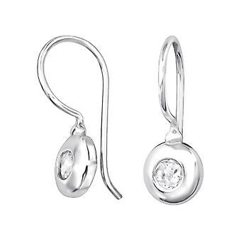 Round - 925 Sterling Silver Cubic Zirconia Earrings - W32054X