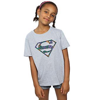 DC Comics niñas Superman Logo Floral 1 t-shirt