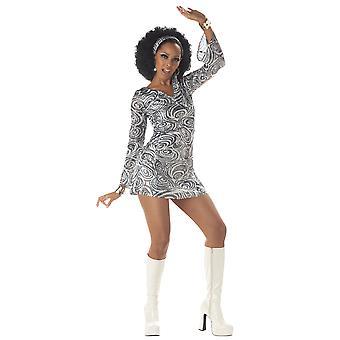 डिस्को दिवा 1960 के दशक चांदी रेट्रो लोमड़ी की तरह महिला नृत्य रानी महिला कॉस्टयूम