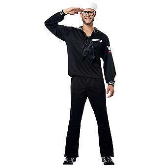 Sailor Black Marine Navy Military Seaman Uniform USS Enterprise Mens Costume