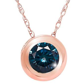 3/8ct Blue Diamond Pendant 14K Rose Gold