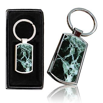 i-Tronixs - Premium Marble Design Chrome Metal Keyring with Free Gift Box (1-Pack) - 0008