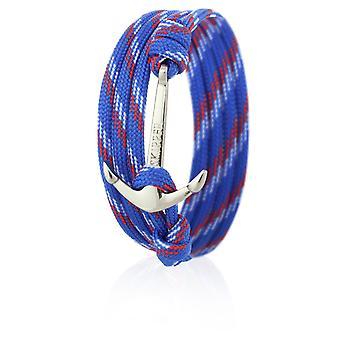 Skipper ankare armband armband i blå/röd/vit nylon med silver ankare 6649
