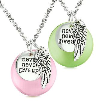 Engel fløyen inspirerende gi aldri opp kjærlighet par amuletter rosa grønn simulert katter øye halskjeder