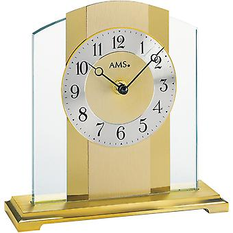 AMS table clock brushed metal base mineral glass crystal with brass finish