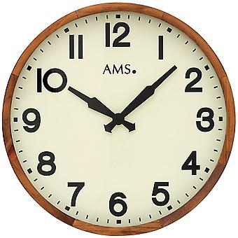 AMS 9535 wall clock quartz analog wood timber frame solid antique cream colors with glass