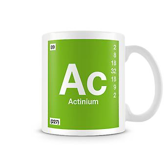 Scientific Printed Mug Featuring Element Symbol 089 Ac - Actinium