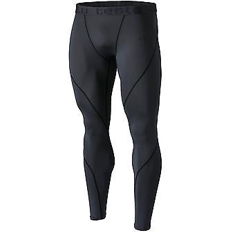 TSLA Tesla MUP19 Cool Dry Contour-Stitching Compression Pants  - Charcoal/Black