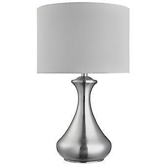 Satin Silber Touch-Tischleuchte mit weißen Farbton - Scheinwerfer 2750SS