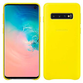 Samsung leather cover yellow for Samsung Galaxy S10 plus G975F EF-VG975LYEGWW bag case protective cover