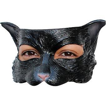 Kotek czarny lateks pół maski dla dorosłych
