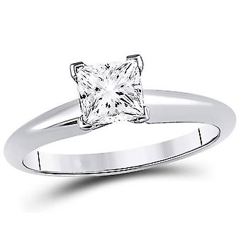 1.00 Carat (ctw I-J, I1-I2) Princess Cut Diamond Solitaire Engagement Ring in 14K White Gold
