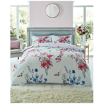 Emilia grau Blumen Modern Quilt Bettbezug florale Bettwäsche-Set Kissenbezug