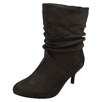 Ladies Spot On Heeled Ruffle Boots