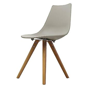 Fusion Living Iconic Light Grey Plastic Dining Chair With Light Wood Legs
