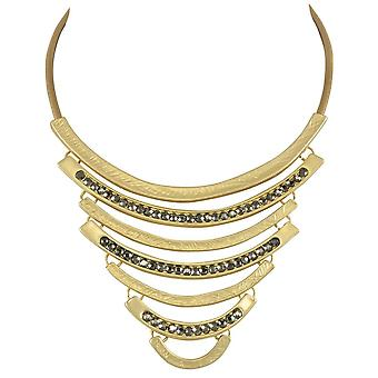 Eternal Collection Impressions Smoky Crystal Matte Gold Statement Necklace
