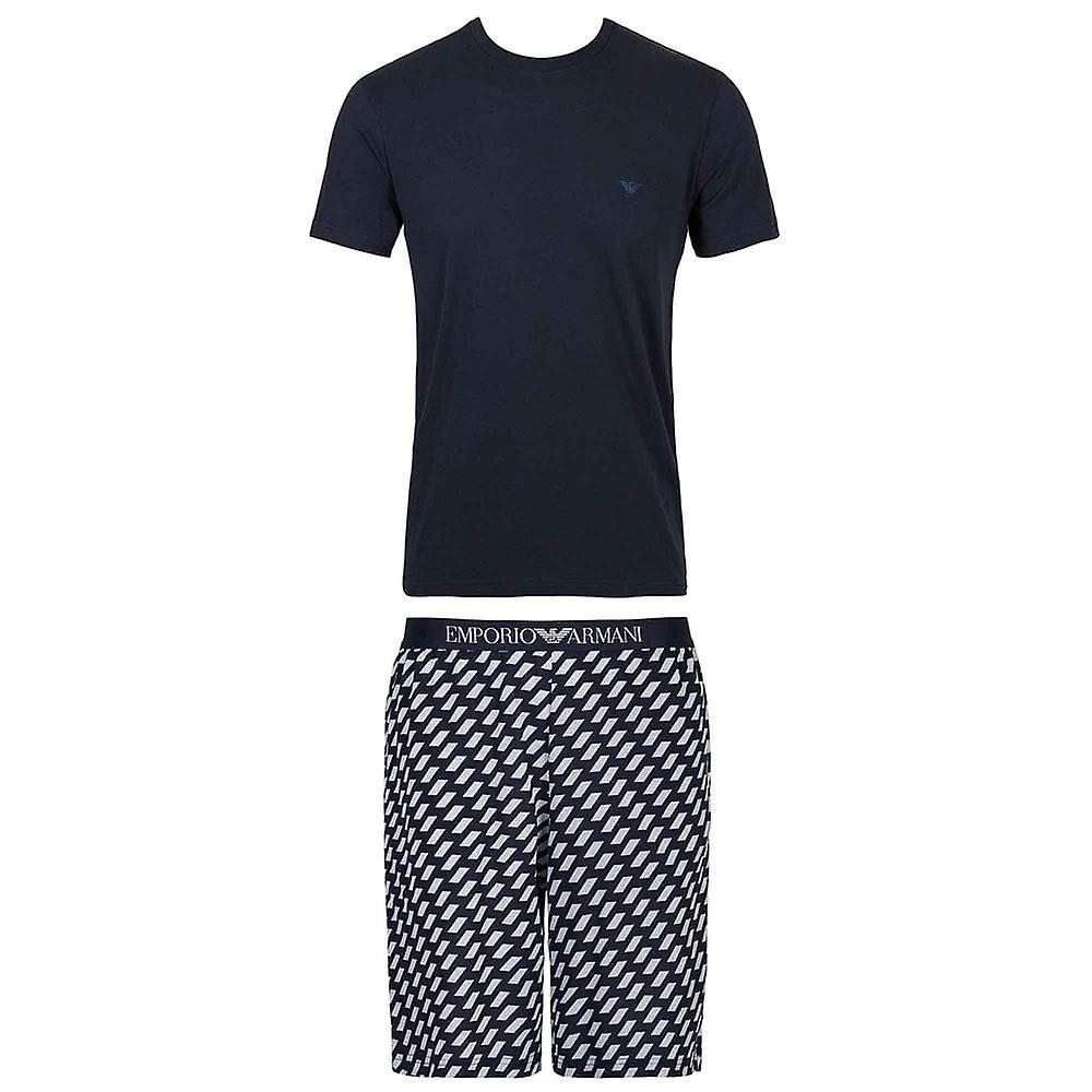 Emporio Armani Cotton Pyjama Set, Marine / Geometric Print, Medium