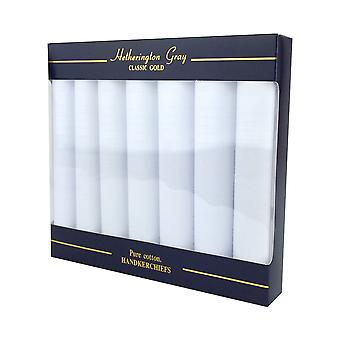 7 Pack Mens/Gentlemens White Handkerchiefs With Satin Stripe Borders, 100% Cotton In A Gift Box