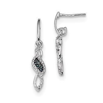 925 Sterling Silver Bungelen gepolijst Prong set Gift Boxed Rhodium verguld blauw en wit diamanten oorbellen sieraden geschenken fo