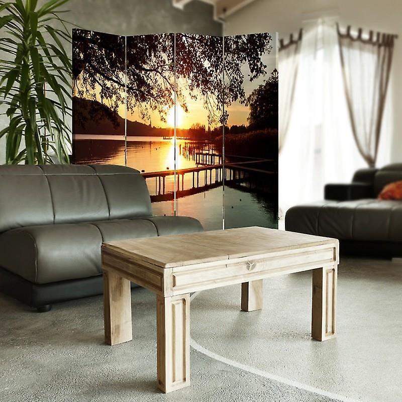 Diviseur de chambre, 4 panneaux, toile, coucher du soleil au-dessus de la rivière