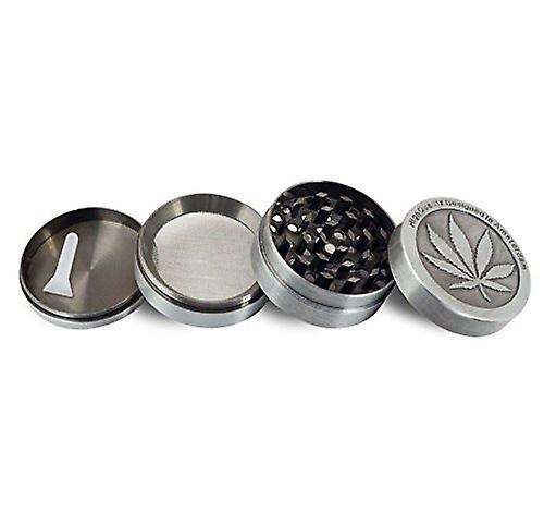 Grinder for Leaves Herbs Tobacco Spices Coffee- Made of 4 Parts Plus Pollen FREE Scraper- Colour Silver - Zinc Alloy 50 Mm