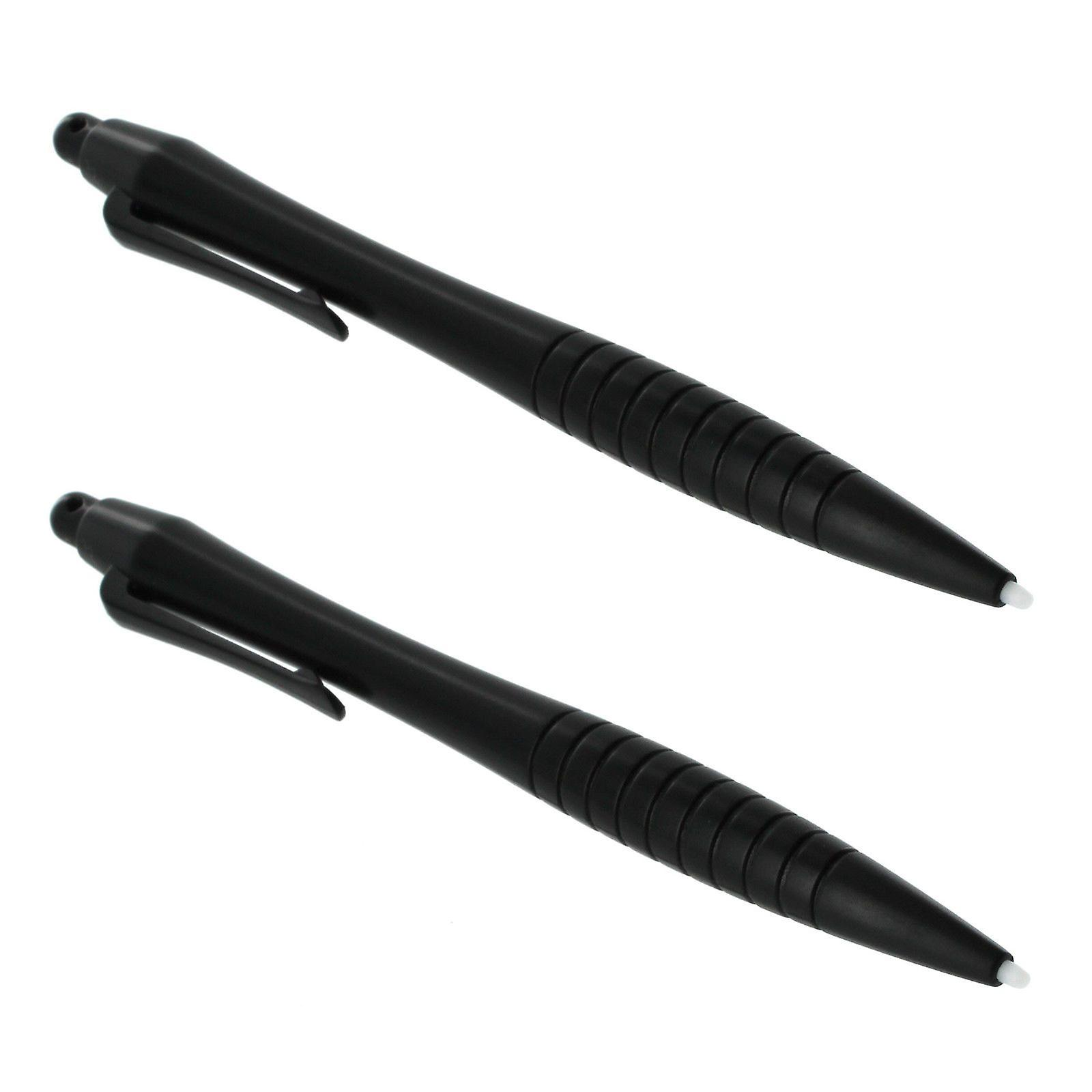 Pro large stylus touch screen big ergonomic pen with ribbed handle grip for nintendo 3ds xl, 2ds, dsi xl, dsi, ds lite, ds, wii u - 2 pack black