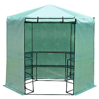 Outsunny  Hexagon Walk In Garden Greenhouse PE Planter Flower Growth with Zipped Door 194 x 225H cm