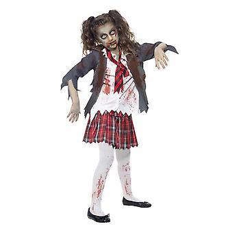 Girls Zombie School Girl Halloween Fancy Dress Costume
