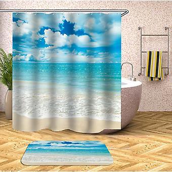 Schapen wolken op het strand douche gordijn