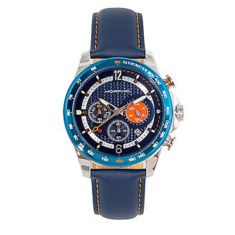 Morphic M88 Series Chronograph Leather-Band Watch w/Date - Marine/Bleu