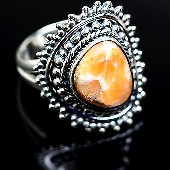 Scolecite ring størrelse 8 (925 sterling sølv)-håndlavede Boho vintage smykker RING979945