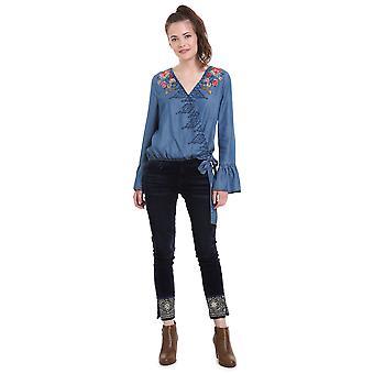 Desigual Women's Denim  Kim Wrap Style Blouse