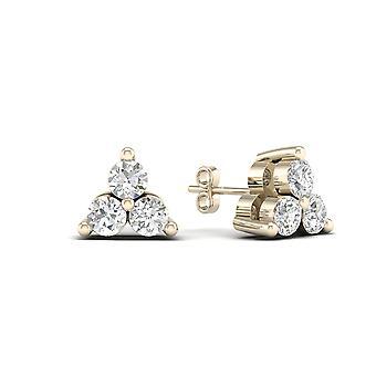 Igi certifié 0.15 ct diamant trois boucles d'oreilles clou en or jaune 10k