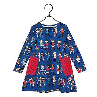 Pippi Pitkätossun ja ystävät mekko sininen