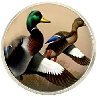 Bassin and Brown Mallard Ducks Lapel Pin - Brown/White