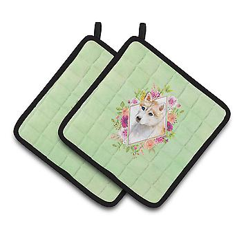 Red Siberian Husky Green Flowers Pair of Pot Holders