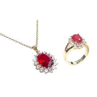 Ah! Smykker Guld fyldt Ruby oval halskæde og ring sæt, stemplet GL