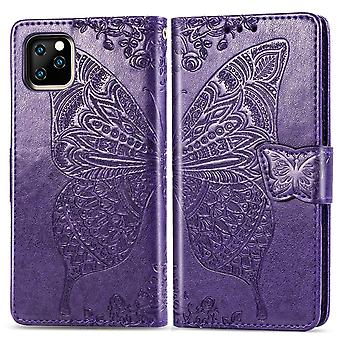 For iPhone 11 Case Dark Purple Butterfly Emboss Pattern PU Leather Wallet Cover with Card & Cash Slots