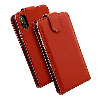 For iPhone XS,X Case,iCoverLover Vertical Flip Genuine Leather Cover,Russet