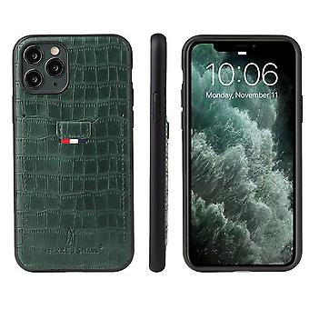 For iPhone 11 Pro Case Crocodile Pattern PU Leather Wallet Cover Green
