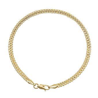 14k Yellow Gold 2 Row Hollow Vete Chain Armband Hummer Claw Stängning och 7,50 tums smycken gåvor för kvinnor